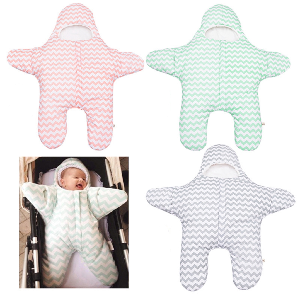 Starfish Cotton Warm Infant Sleeping Bag Swaddle Blanket Wrap For Newborn