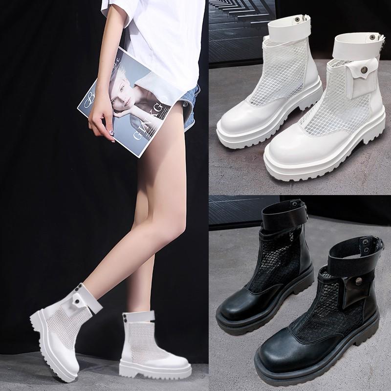 Giày Bốt Martin Đế Dày Phối Lưới Thoáng Khí Thời Trang 2020 Cho Nữ