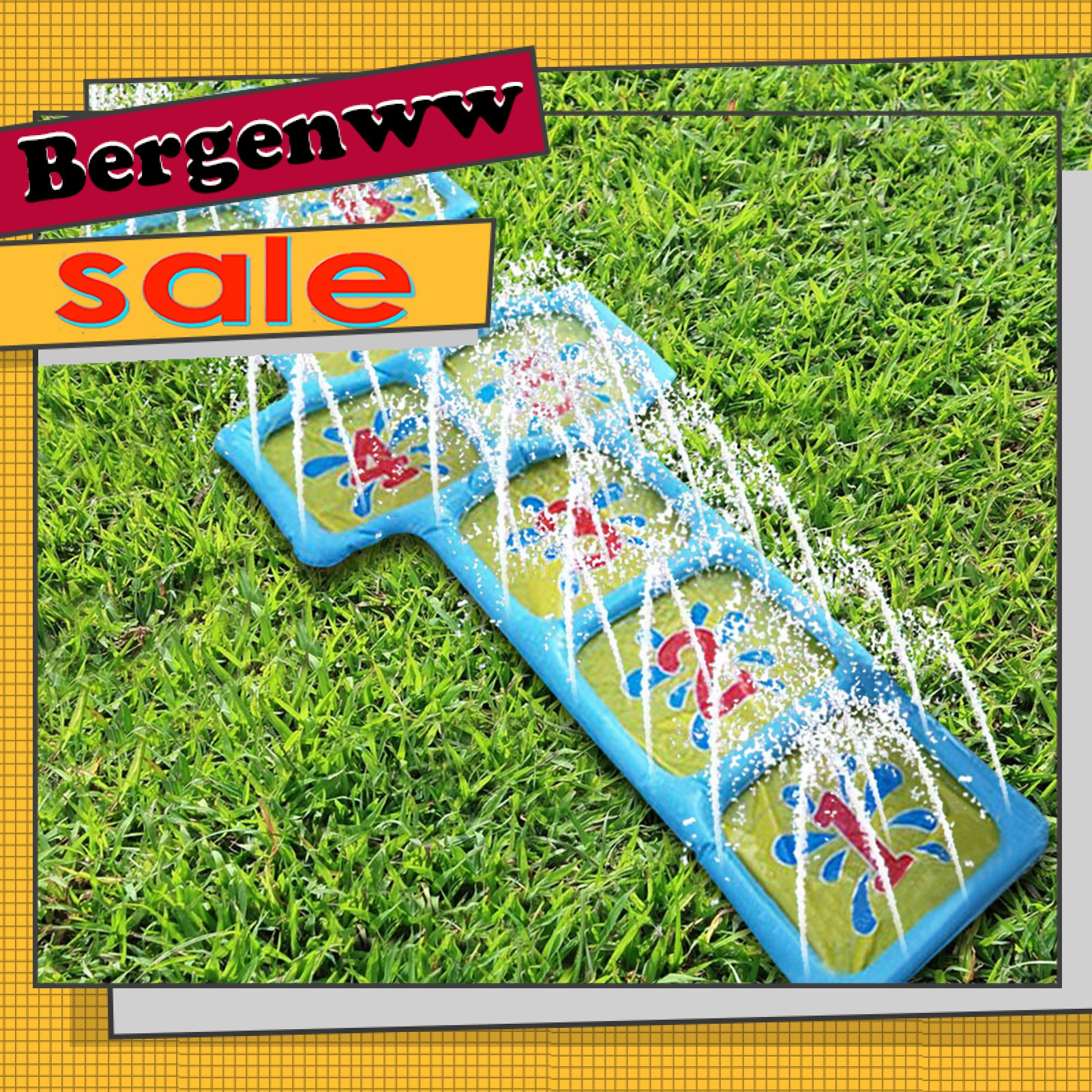 Bergenww_my Toy PVC Water Sprinkler Pad Reusable Kids Spray Water Cushion Easy to Use for Home