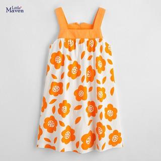 Váy hai dây to bản váy bé gái Little Maven hàng hè đi biển cao cấp màu cam họa tiết hoa cực tây và xinh xắn