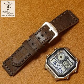 Dây đồng hồ RAM Leather da bò cho casio ae1200 whd và seiko 5 37mm (tặng khóa ) - RAM mài nhám cao cấp thumbnail