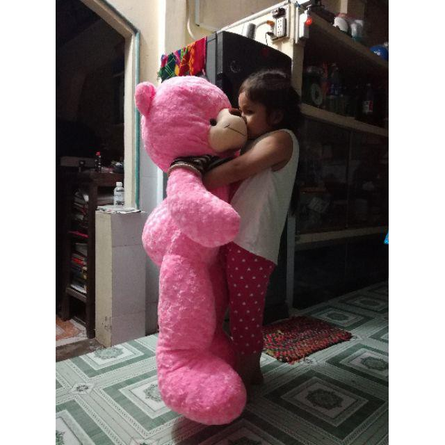 Gấu teddy áo len màu hồng khổ 1m4 cao thật 1m2