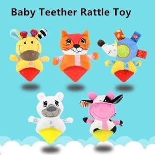 Baby Plush Toys Cartoon Handbell Animal Shape Teether Rattles Kids Toys Teether Educational Developmental Rattle Toy