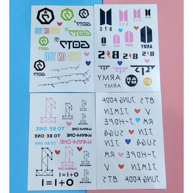 Tattoo (hình xăm) BTS, Wanna one, GOT7, Twice