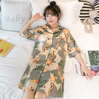 Đầm Ngủ Sơ Mi Vải Lụa Mát Thời Trang Mùa Xuân Cho Nữ