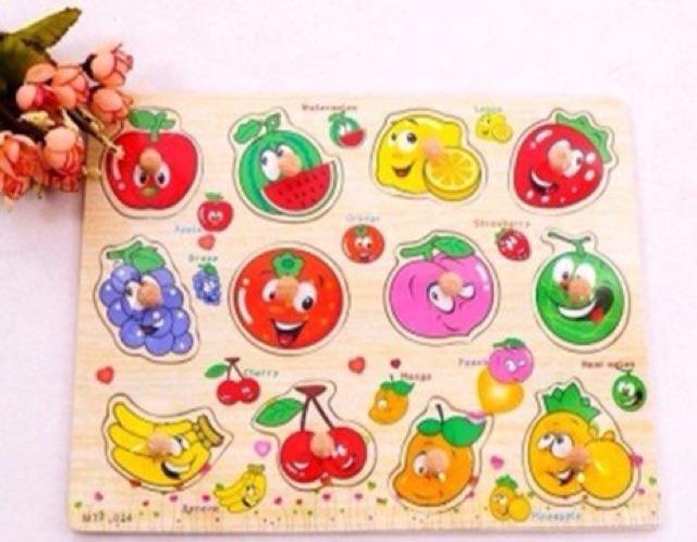 Bảng chữ, số, ptgt, hoa quả,... núm gỗ