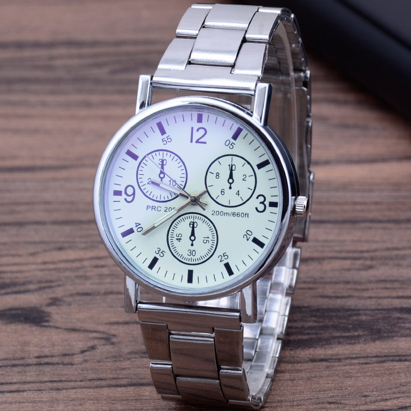 Blu-ray FRP เข็มขัดนาฬิกาผู้ชายแฟชั่นนาฬิกาควอทซ์ของขวัญเข็มขัดเหล็ก