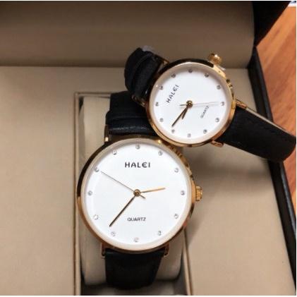 Cặp đồng hồ đôi nam nữ Halei dây da chính hãng Tony Watch 68