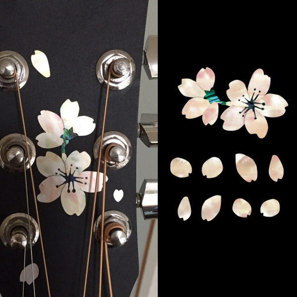 Cherry Blossom Floral Self Adhesive Ukulele Guitar Sticker Bass Cute Decals