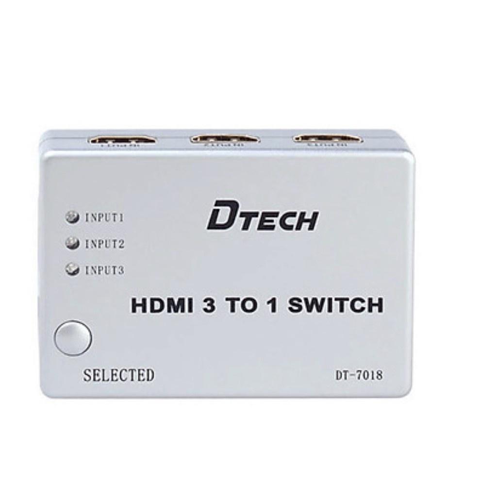 Bộ gộp HDMI 3 vào 1 ra (có Remote) Dtech DT-7018 chính hãng - Dây Cáp Tín  Hiệu Khác
