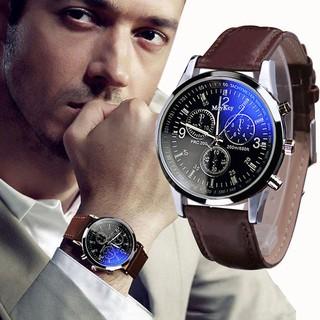 Đồng hồ nam dây da Meykey đồng hồ nam đẹp viền thép thời trang thumbnail
