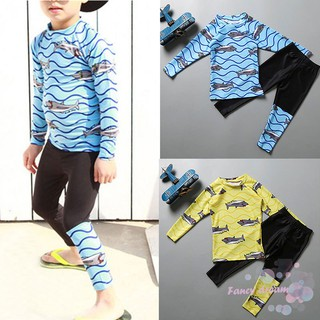 Kids Swimsuits 2Pcs Long Sleeves Tops+Long Pants Swimwear Set Quick Dry Diving Suits