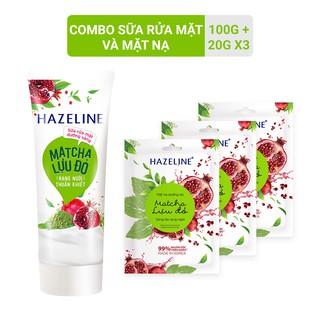 Combo Sữa rửa mặt 100g và 3 mặt nạ 21g miếng cho da sáng rạng ngời Hazeline Matcha lựu đỏ thumbnail