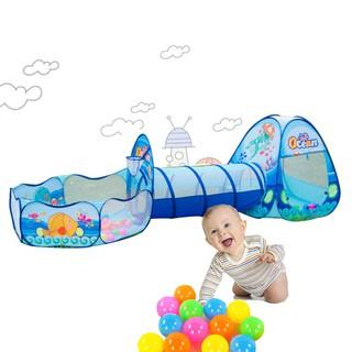 Lều bóng chui 3 khoang cho bé màu xanhp