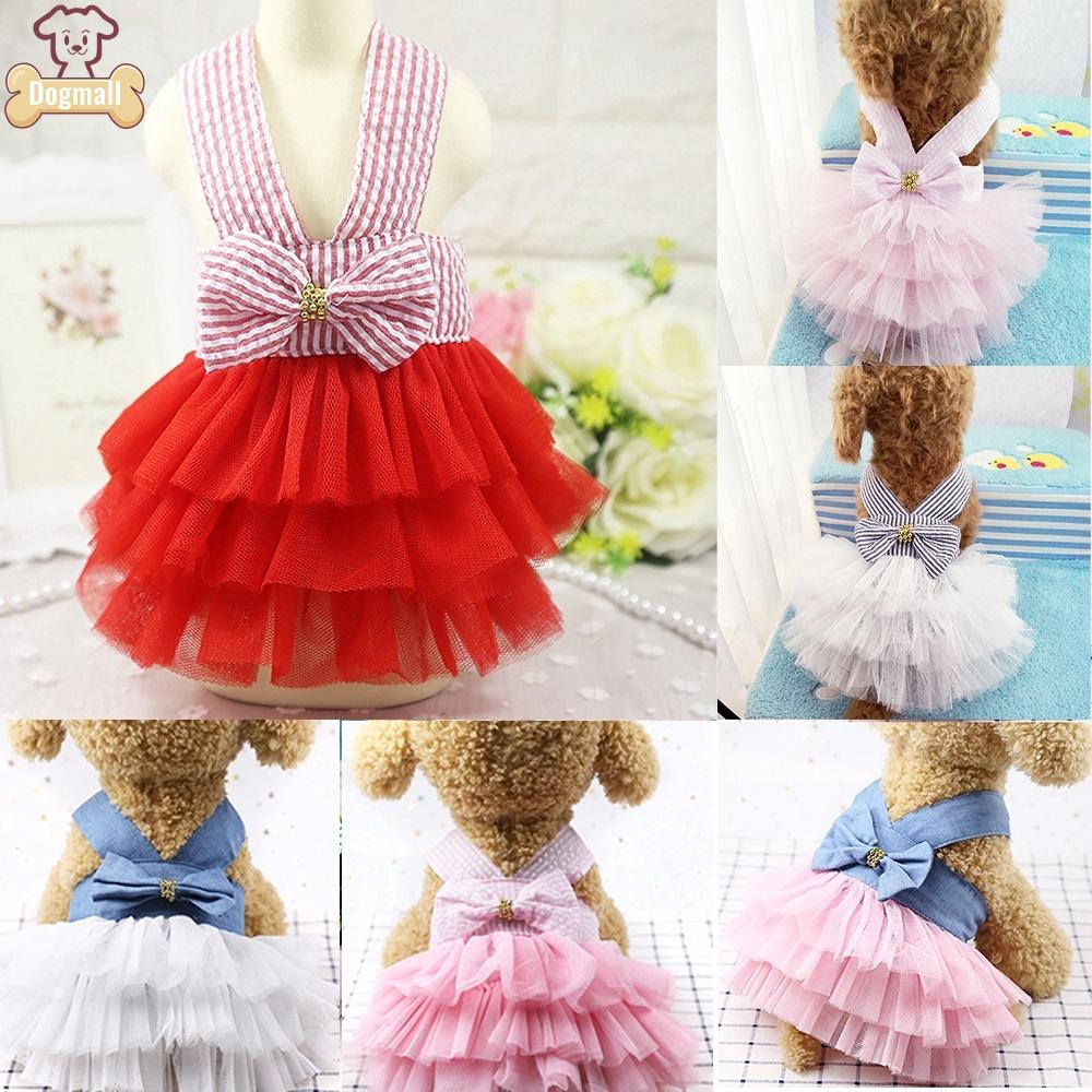 Đầm xòe công chúa họa tiết sọc dễ thương cho thú cưng