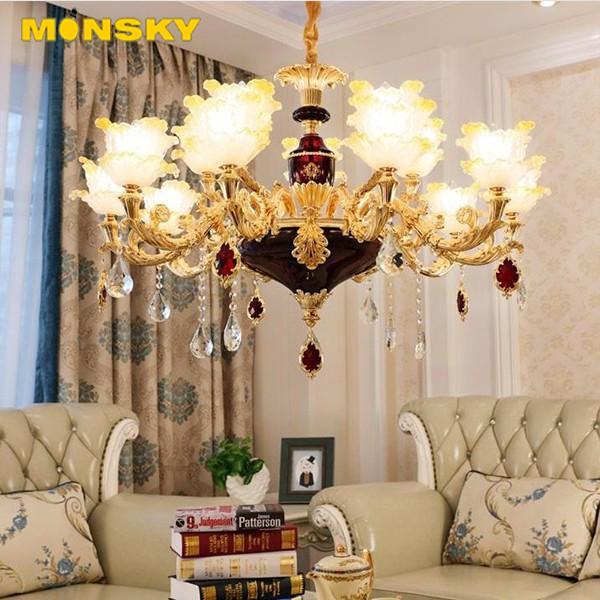 Đèn chùm MONSKY trang trí nội thất IRELIA phong cách Châu Âu hiện đại loại 6, 8, 15 tay - Tặng kèm bóng LED cao cấp