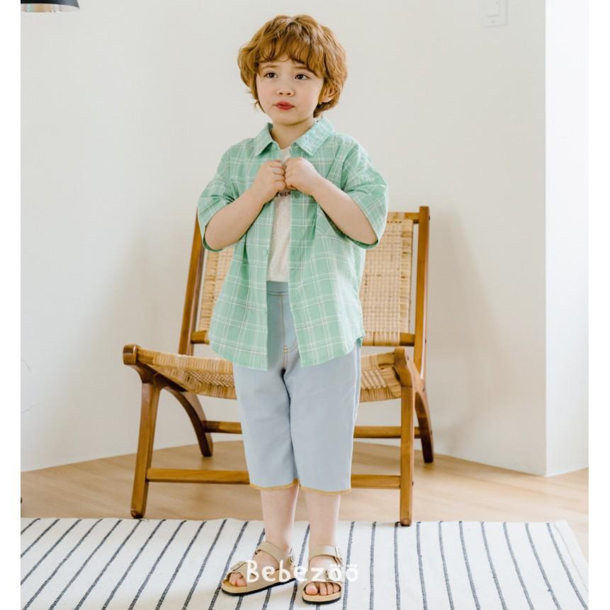 Áo bé trai Hàn Quốc Bebezoo cộc tay _ Sơ mi kẻ