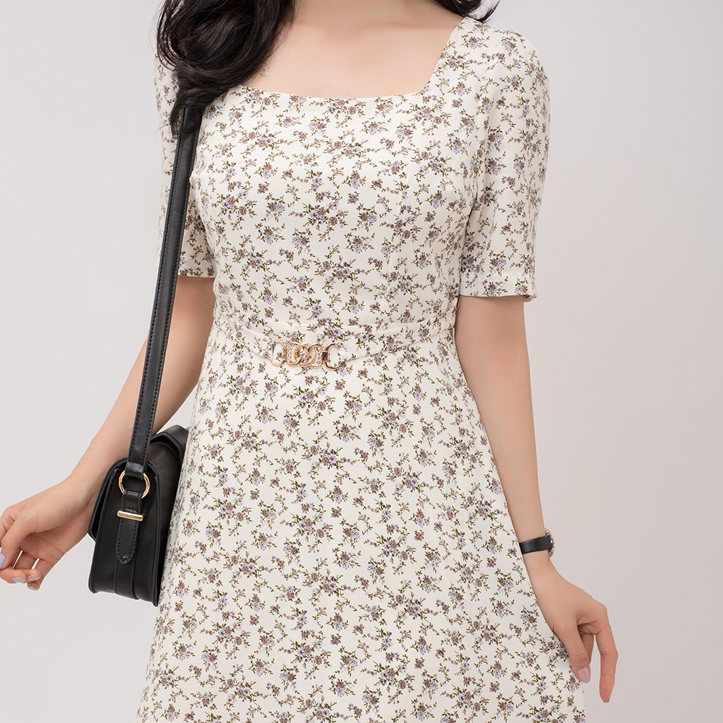 Mặc gì đẹp: Sang chảnh với Váy hoa nữ Ullzang dáng dài dây thắt Eo - Đầm Công Sở Thiết Kế Dự Tiệc Dáng Xoè Tay Ngắn Dễ Thương -AMYRA DA057