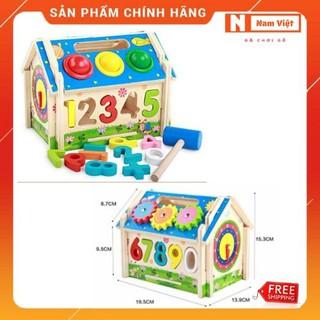 Nhà đập banh kết hợp thả số và bánh răng chuyển động tay đồ chơi gỗ thông minh