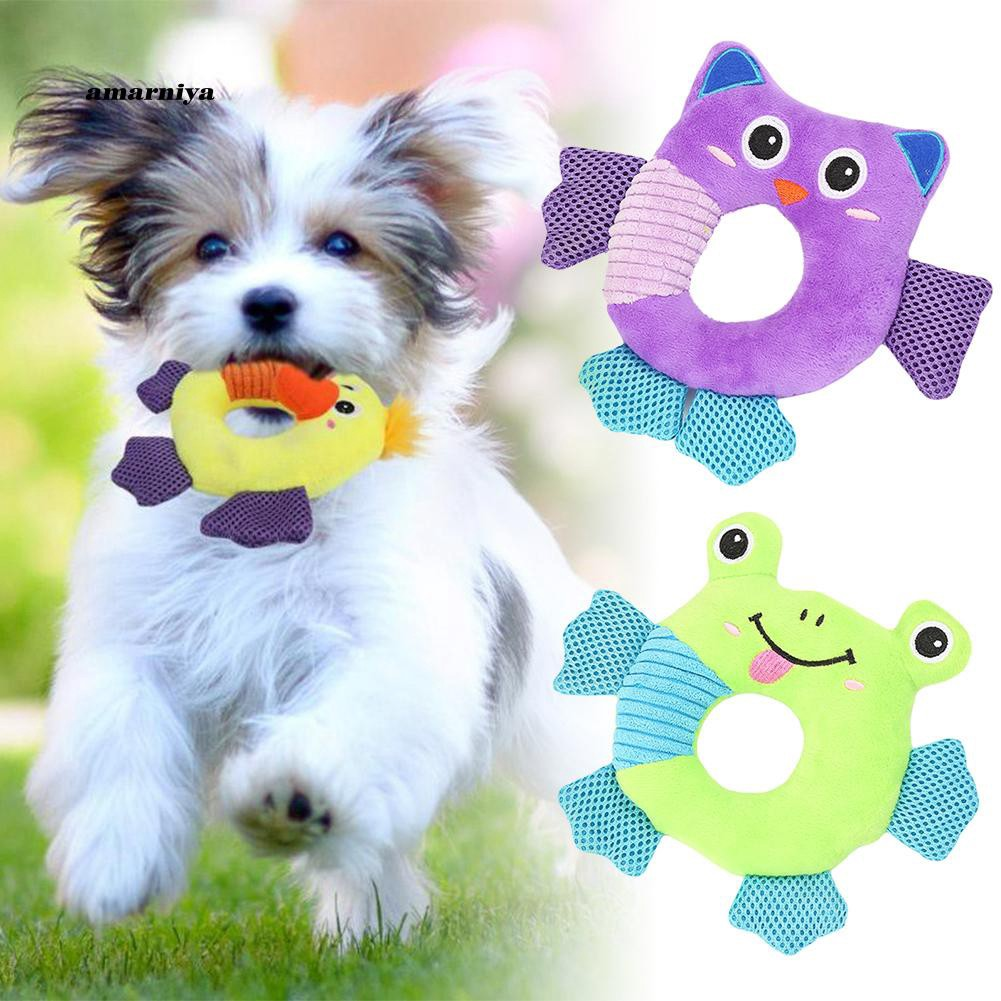 AMA♥Cute Round Animal Frog Owl Duck Sound Squeaky Pet Dog Chewing Teeth Cleaning Toy