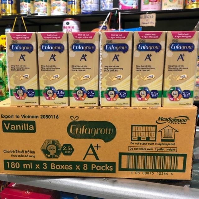 1 Thùng (24 hộp) sữa Enfa Grow A+ 180ml date T9/2021-VANILLA