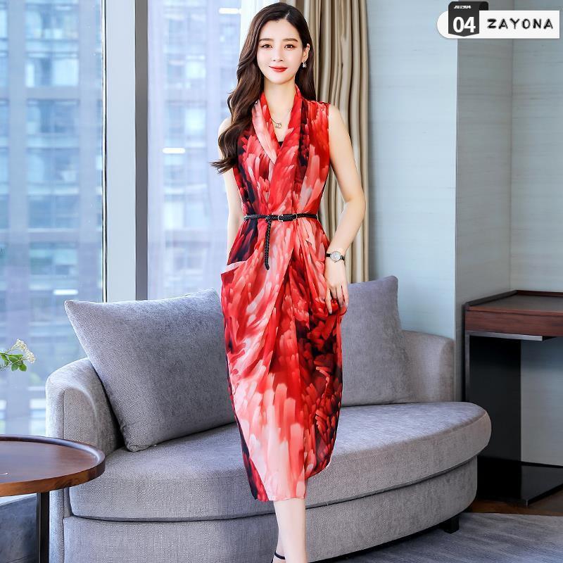 Váy quây không tay voan nữ dài 2019 hè mới body body khí chất váy thời trang thon gọn