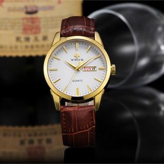 WWOOR top brand Luxury watch for men analog calendar wristwatch waterproof quartz watches  fashion leather watch 8801