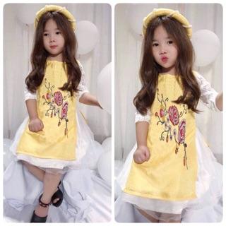 Áo dài gấm 3D thêu hoa+váy ren cao cấp 2 lớp + mấn ngoc cho bé