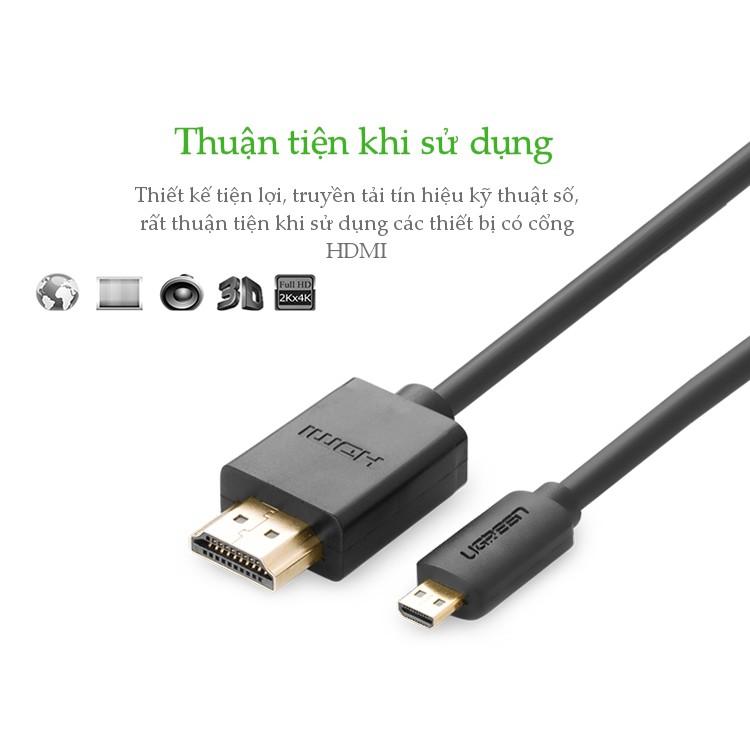 Cáp Chuyển Micro HDMI To HDMI UGREEN 30102 Dài 1.5M - Hàng Chính Hãng