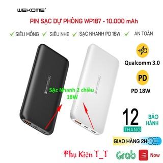 Pin Sạc Dự Phòng WP-187 10000mAh Sạc Nhanh PD 18W, Quick Charge 3.0 hỗ trợ tất cả điện thoại, Đa Năng Chính Hãng -BH 12T thumbnail