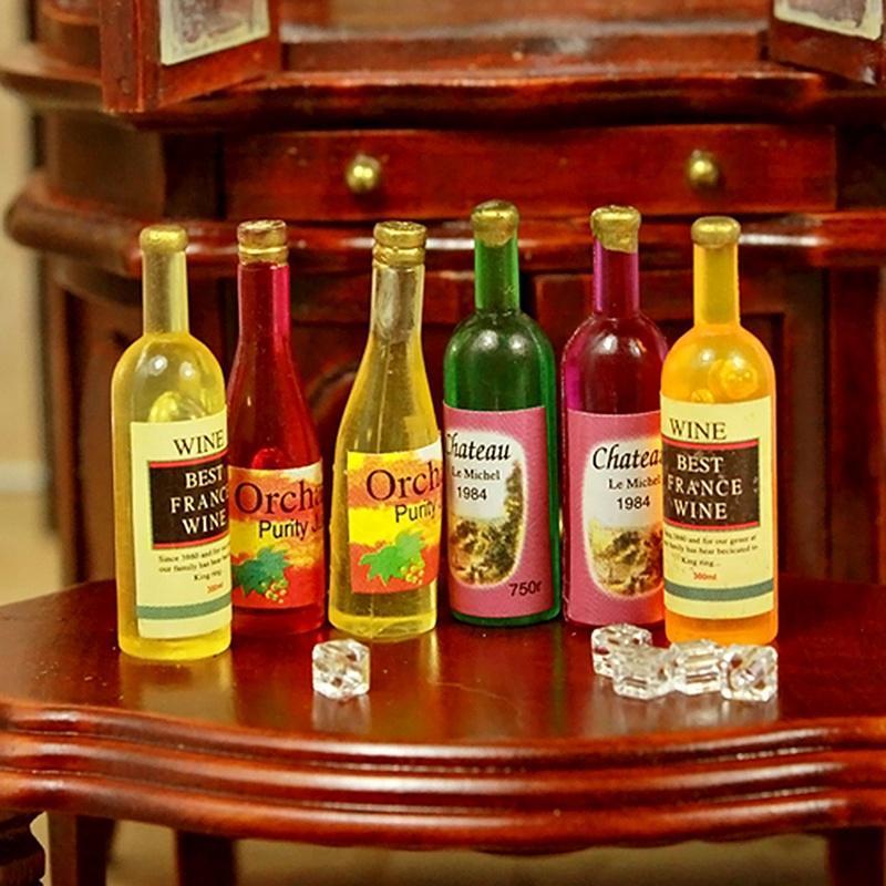Colorful 6pcs Bottles Wine For Miniature Dollhouse 1:12
