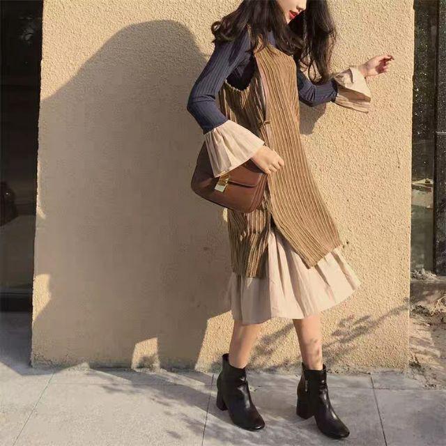 Váy len nhung mùa thu Hàn Quốc❤️Tặng Quà VIP❤️Ưu Đãi Lớn-Hôm Nay - Đẹp, Phong cách trẻ trung,sang trọng