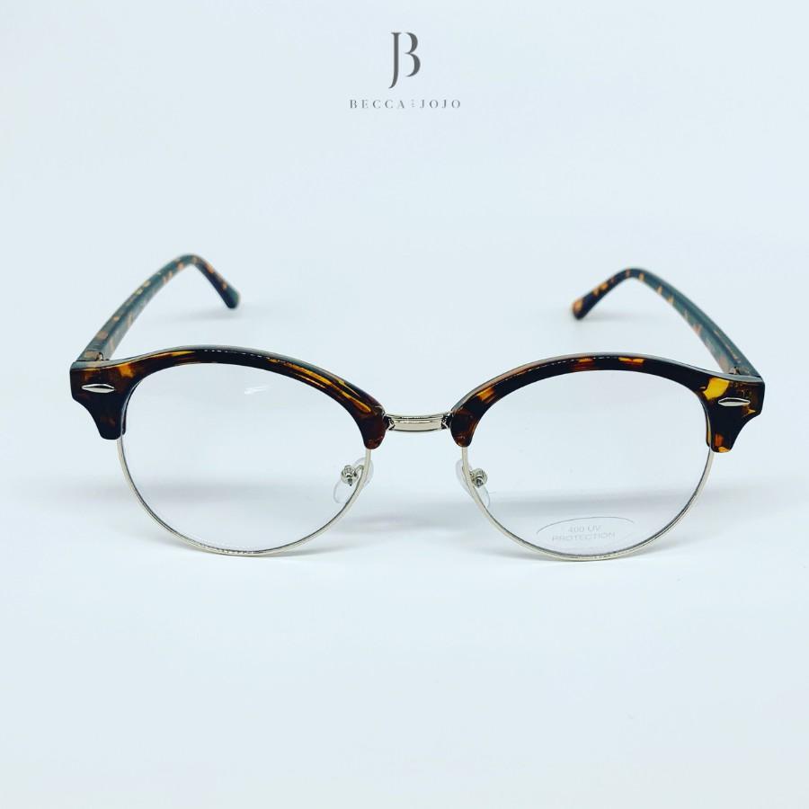 Giá bán Gọng kính cận tròn đồi mồi nữ trẻ trung, chống bụi, lọc ánh sáng xanh, Phụ kiện thời trang Becca & JoJo