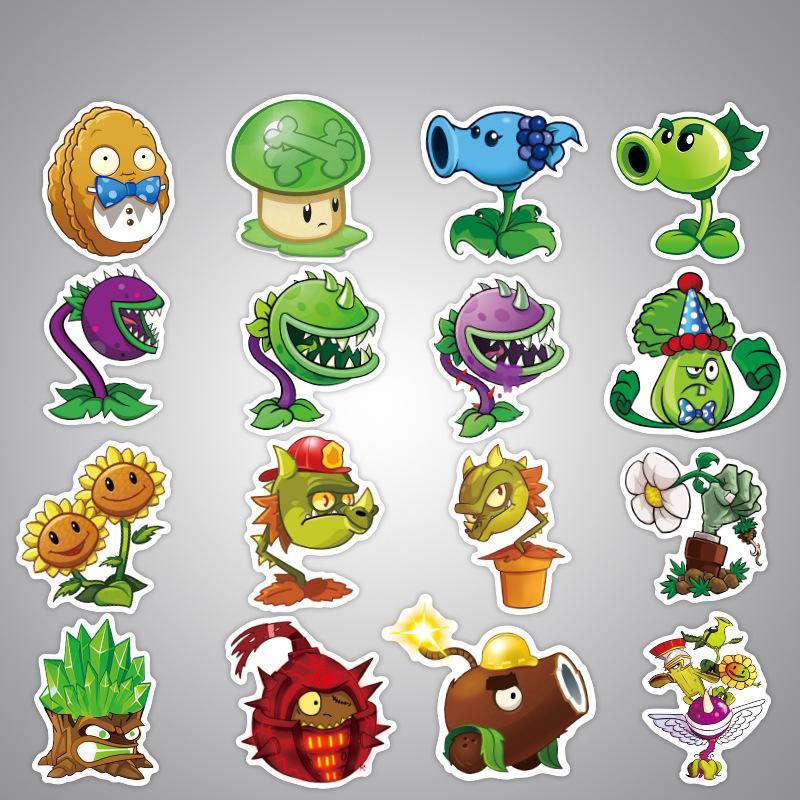 100 pcs Plants VS Zombies Cartoon Waterproof Stickers - 100