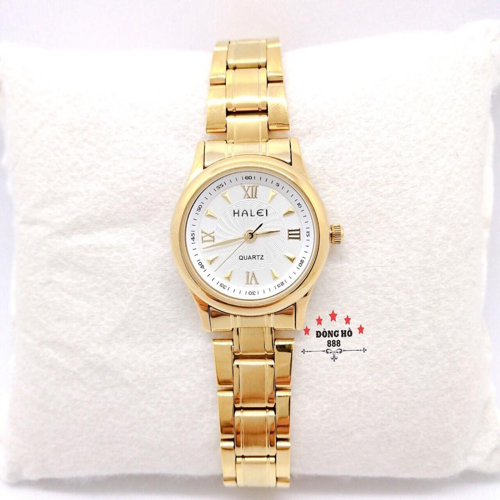 Cặp Đồng hồ đôi Halei máy Nhật chính hãng mạ vàng mặt trắng 38mm 27mm thép không gỉ chống xước chống nước tuyệt đối 489
