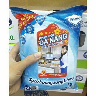 Khăn lau bếp đa năng Nano FREESHIP Túi 30 miếng lớn thumbnail
