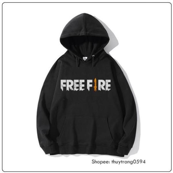SALE- SALE- Áo Hoodie Đen Trắng In Logo Game Free Fire - áo cực HOT - áo cực HOT