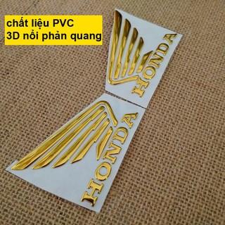 Yêu ThíchBộ 2 tem logo cánh én HONDA 3D nổi Vàng Gold