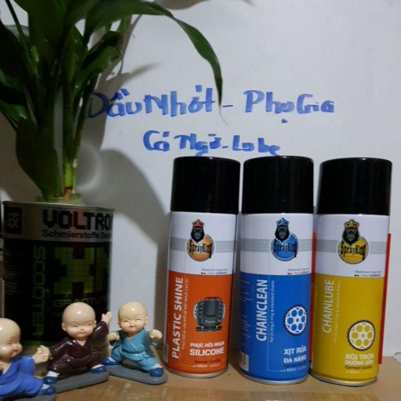 [DauNhot-PhuGia] combo 3 chai xịt dưỡng sên Spray king, chai vệ sinh sên Spray King, dưỡng nhựa đen-đánh bóng lốp-- thumbnail