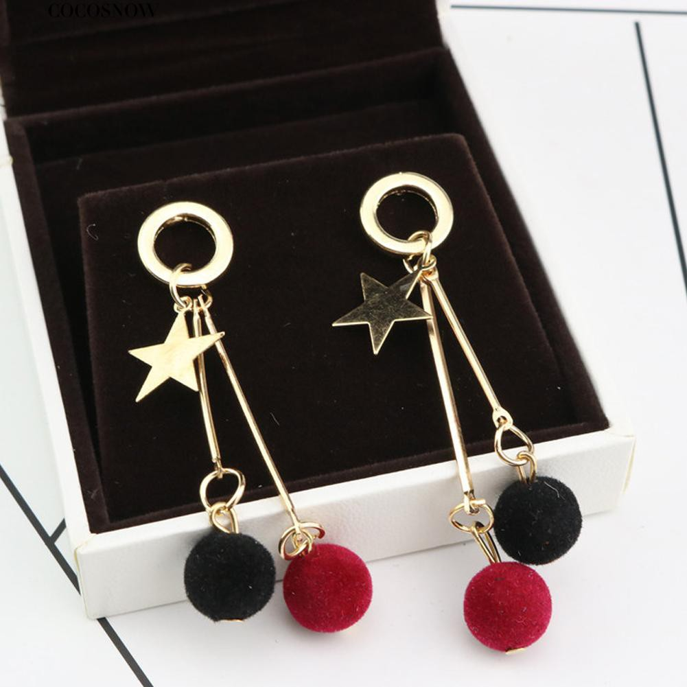 💖Five Pointed Star Plush Ball Dangle Women Ear Stud Earrings