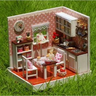 Mô hình nhà búp bê gỗ – Không gian phòng bếp màu hồng xinh xắn (N01-B)