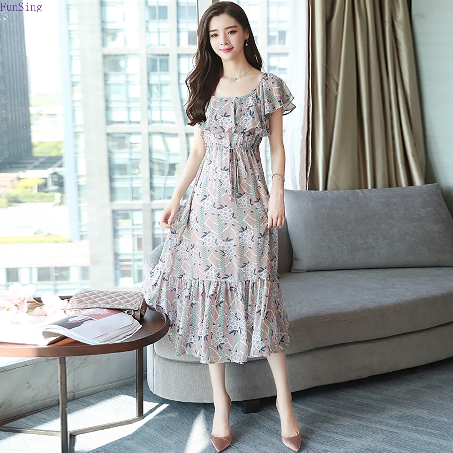 157d9594b857b Summer Vintage Chiffon Floral Dress Plus Size Maxi Sundress Boho ...