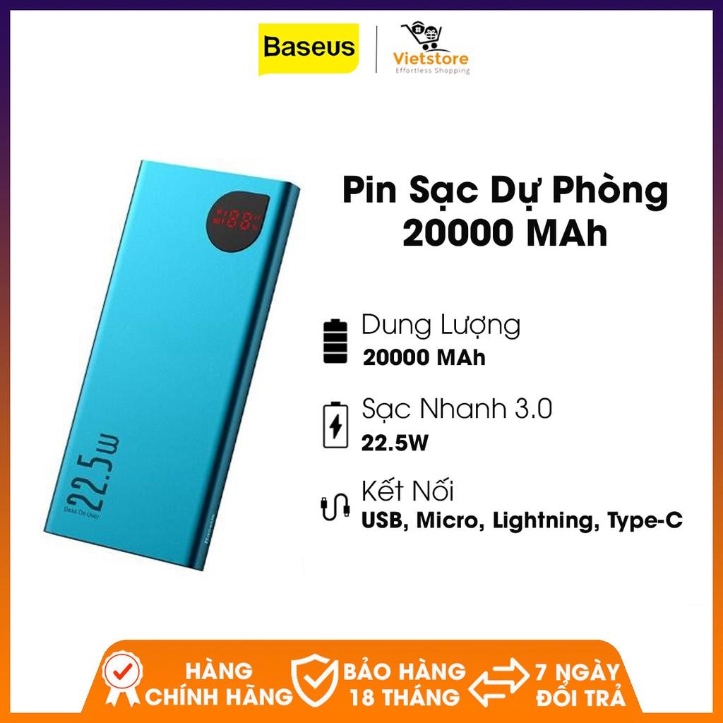 Pin sạc dự phòng Baseus 20000MAh, 5A, sạc nhanh 3.0 cho iPhone, Samsung, Xiaomi, Huawei