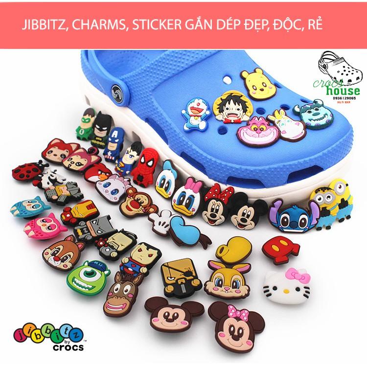 Sỉ nút gắn dép Crocs 2D siêu rẻ - Jibbitz Charm Sticker cài dép Sục, Satihu, Cá Sấu