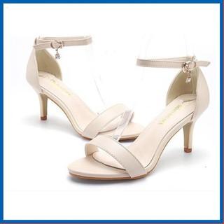 Giày Nữ Cao Gót Thời Trang Cao 5CM Hai Màu Đen và Kem S7