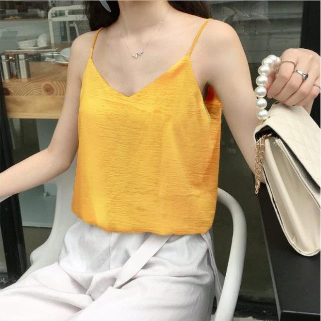Áo 2 dây nữ ulzzang 💎 Áo hai dây đũi lụa, áo hai dây cổ tim Hàn Quốc 💎 Áo kiểu nữ đẹp - ZaZi HD11 xinh