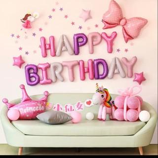 (GIÁ RẺ – SET BÓNG TRANG TRÍ Y HÌNH )Set bóng bay trang trí sinh nhật kỳ lân 3D hồng cho bé gái BG1