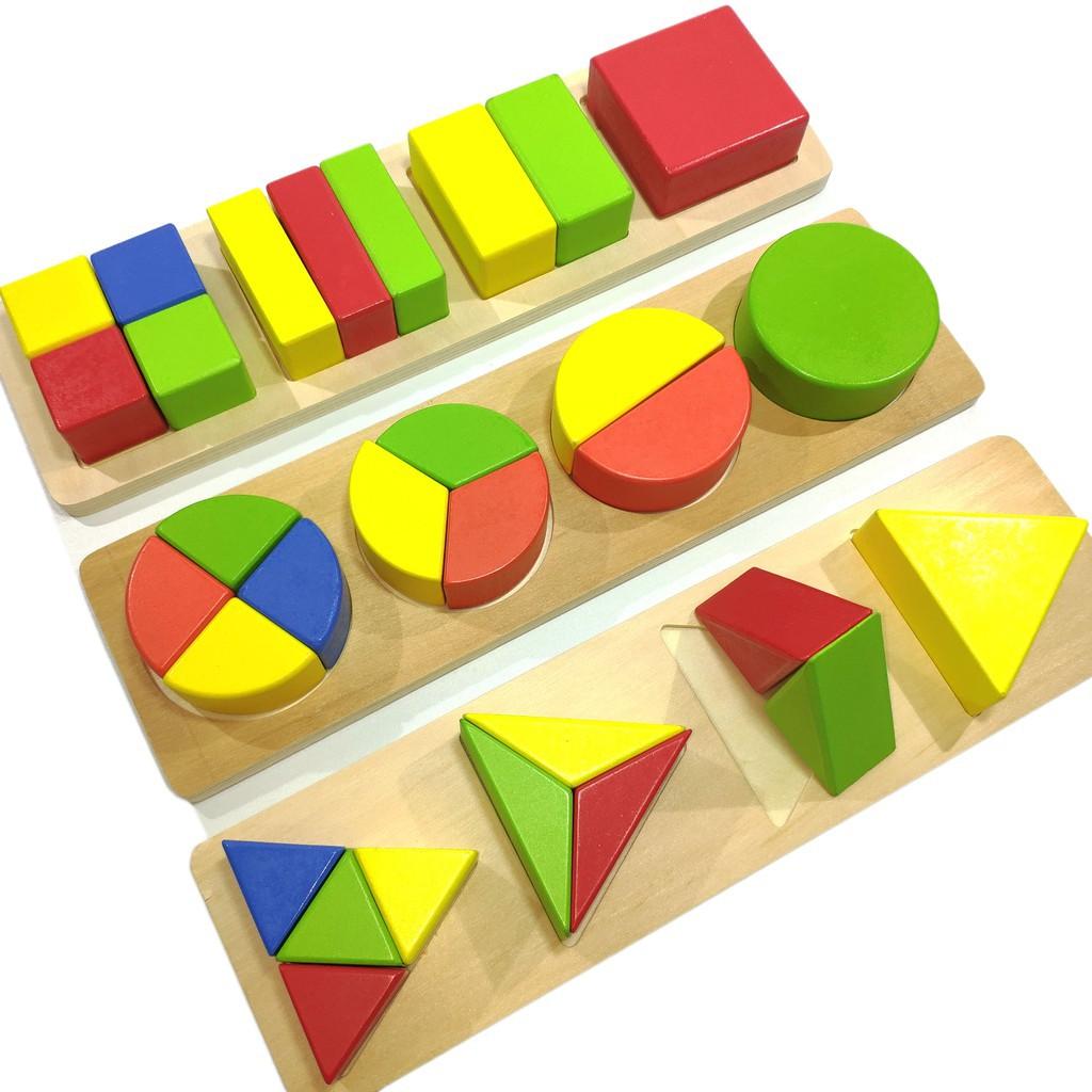 Đồ chơi gỗ - Xếp hình học phân số dạng vuông- tròn- tam giác