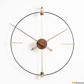 Đồng hồ treo tường Wood Golden Royal - F20Beauty - Phong cách hiện đại