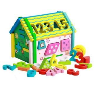 Đồ Chơi Trẻ Em Đồ chơi ngôi nhà gỗ toán học thả hình lắp ráp đa năng màu xanh cho bé | KB2973 [ĐỒ CHƠI TRÍ TUỆ]
